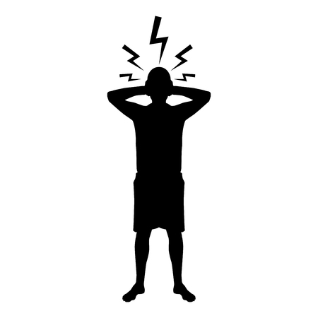 Man holding hand near head with lightning thunderbolt Concept trouble problem people silhouette icon black color vector illustration flat style simple image  イラスト・ベクター素材
