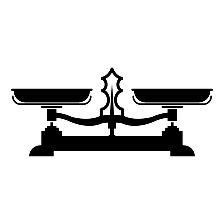 Balancing scales Store weigher Libra icon black color vector illustration flat style simple image