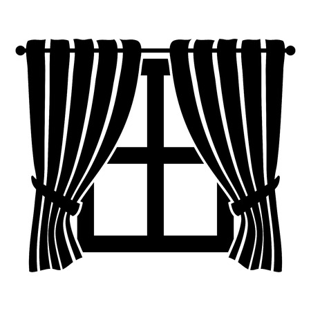 Curtains and window Interior concept Home window view decoration Waving curtains on window icon black color vector illustration flat style simple image