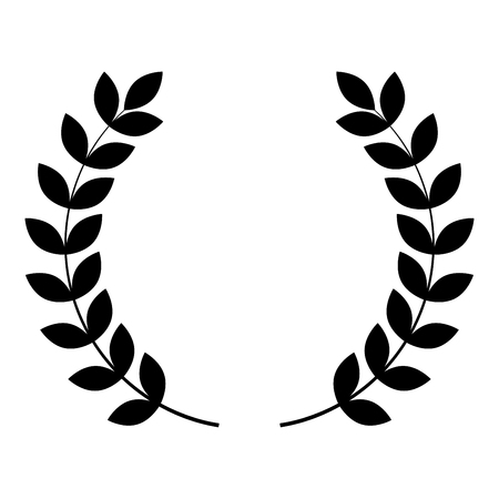 Branch of winner Laurel wreaths Symbol of victory icon black color vector illustration flat style simple image