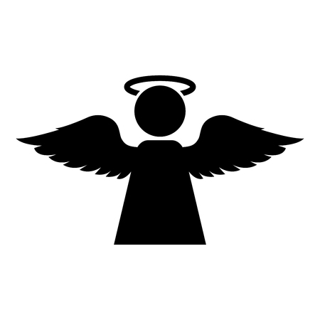 Angel with fly wing icon black color vector illustration flat style simple image