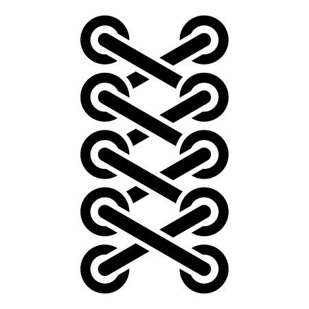 Schnürsenkel von Sneakerschuhen Schnürsenkel binden Befestigungsseil Stichkonzept Schemata zum Binden von Schnürsenkeln Schnürsenkel Symbol schwarze Farbe Vektor-Illustration flacher Stil einfaches Bild