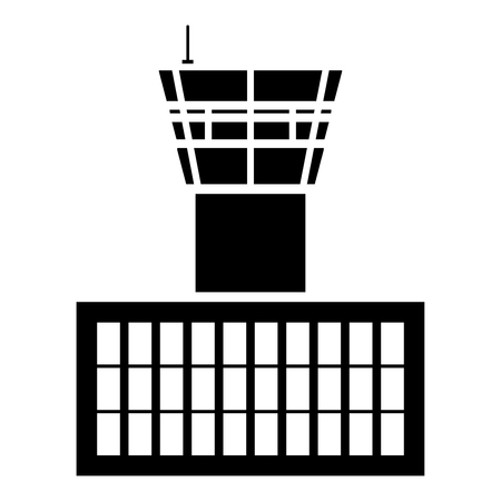 Airport control tower Airport Building Flight control tower icon black color vector illustration flat style simple image