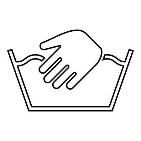 Only manual wash Clothes care symbols Washing concept Laundry sign icon outline black color vector illustration flat style simple image