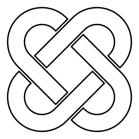 Celtic knot icon outline black color vector illustration flat style simple image