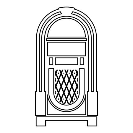 Jukebox Jukebox geautomatiseerde retro muziek concept vintage afspeelapparaat pictogram overzicht zwarte kleur vector illustratie vlakke stijl eenvoudig afbeelding