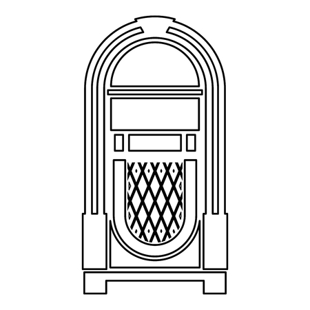 Jukebox Juke box automated retro music concept vintage playing device icon outline black color vector illustration flat style simple image