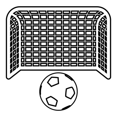 Soccer ball and gate Penalty concept Goal aspiration Big football goalpost icon outline black color vector illustration flat style simple image