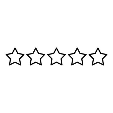 Cinco estrellas 5 estrellas concepto de calificación icono de esquema de color negro ilustración vectorial tipo plano simple imagen