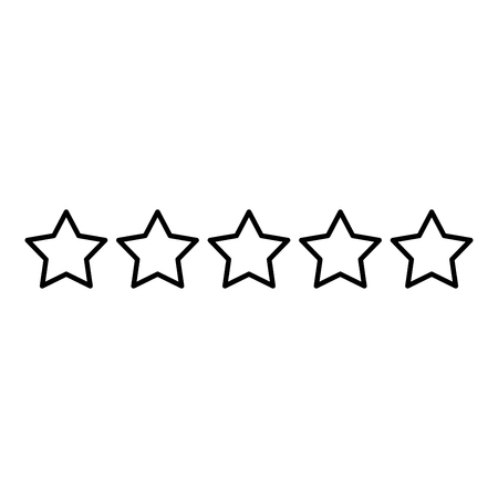 Five stars 5 stars rating concept icon outline black color vector illustration flat style simple image