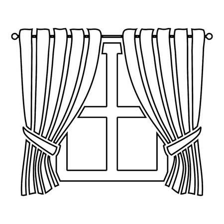 Curtains and window Interior concept Home window view decoration Waving curtains on window icon outline black color vector illustration flat style simple image
