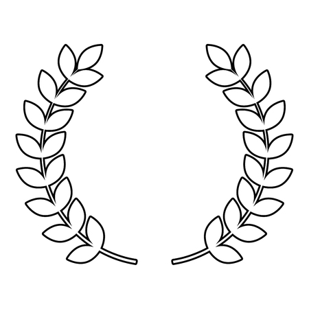 Branch of winner Laurel wreaths Symbol of victory icon outline black color vector illustration flat style simple image
