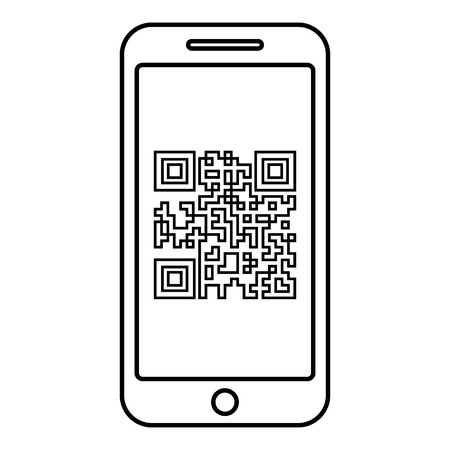 Smartphone with QR code on screen icon outline black color vector illustration flat style simple image