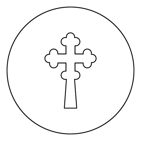 Cross trefoil shamrock on church cupola domical with cut Cross monogram Religious cross icon in circle round outline black color vector illustration flat style simple image 免版税图像 - 122422775