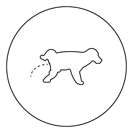 Pissing dog Puppy pissing Pet pissing with raised leg icon in circle round outline black color vector illustration flat style simple image Illustration