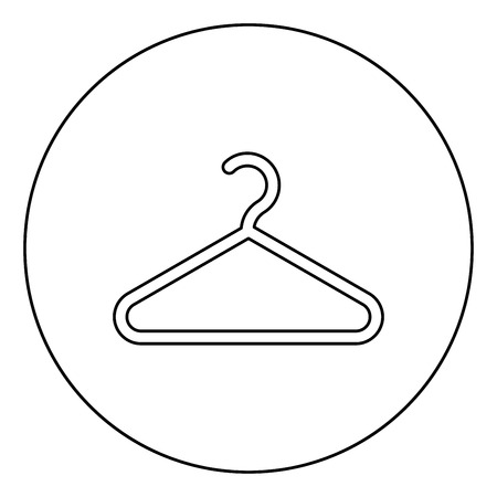 Hanger Clothes hanger icon in circle round outline black color vector illustration flat style simple image