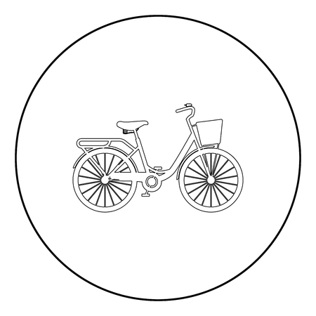 Woman's bicycle with basket Womens beach cruiser bike Vintage bicycle basket ladies road cruising icon in circle round outline black color vector illustration flat style simple image