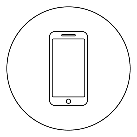 Smartphone icon in circle round outline black color vector illustration flat style simple image Ilustrace