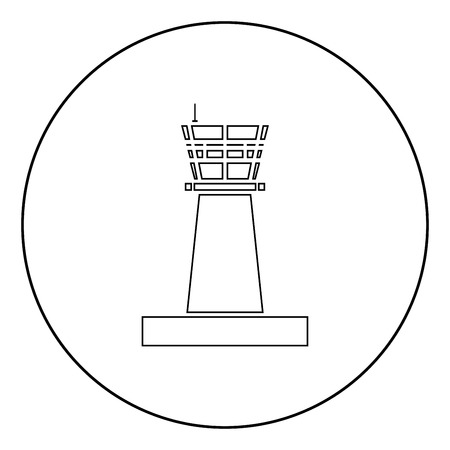 Airport control tower Control tower air traffic icon in circle round outline black color vector illustration flat style simple image