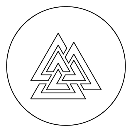 Valknut symbol icon in circle round outline black color vector illustration flat style simple image Illustration