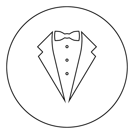 Symbol service dinner jacket bow Tuxedo concept Tux sign Butler gentleman idea Waiter suit icon in circle round outline black color vector illustration flat style simple image