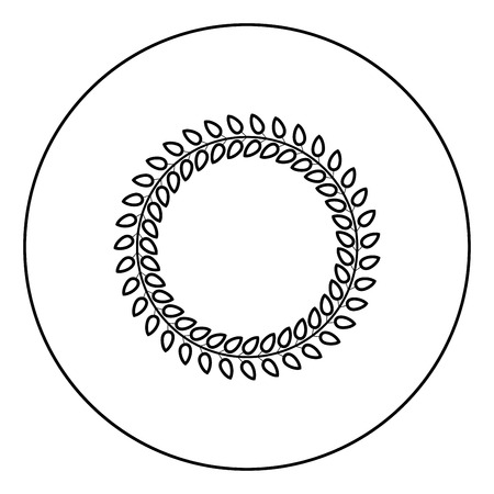 Floral circle Wreath of leaves Round floral frames Floral border icon in circle round outline black color vector illustration flat style simple image