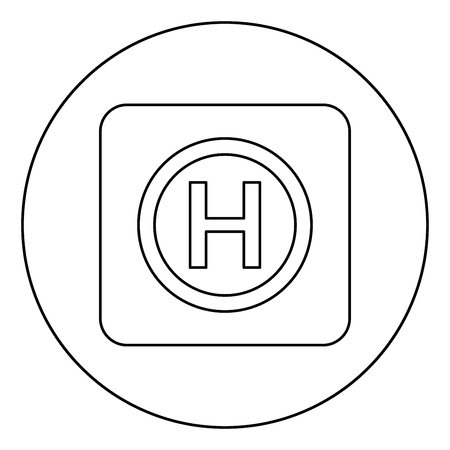 Helicopter landing pad Helicopter place icon in circle round outline black color vector illustration flat style simple image Иллюстрация