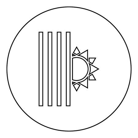 Venetian blind and sun Jalousie close sun Jalousie shutdown light Louver concept Shutter symbols icon in circle round outline black color vector illustration flat style simple image