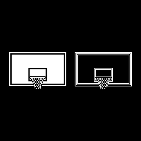 Basketball backboard Basketball hoop on backboard icon outline set white color vector illustration flat style simple image
