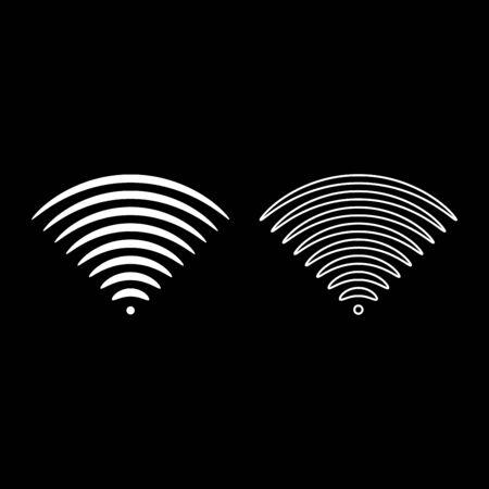 Radio Wave Sound Signal One Direction Sender Symbol Umrisse Set Farbe Weiß Vector Illustration Flat Style Simple Image