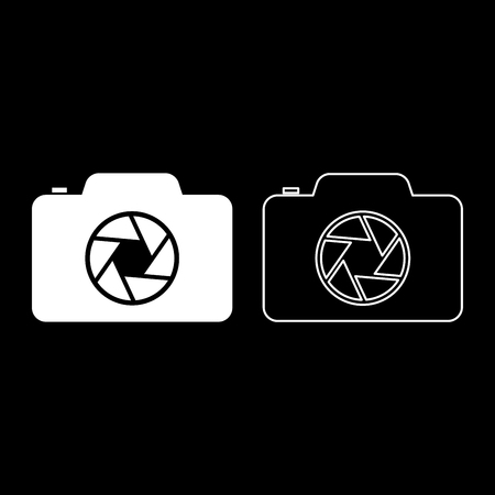 Camera with focus of lens concept icon outline set white color vector illustration flat style simple image Ilustrace
