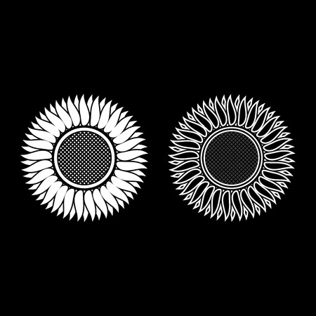 Sunflower icon outline set white color vector illustration flat style simple image