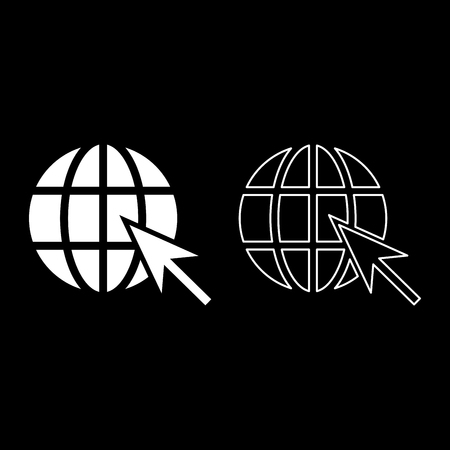 Earth ball and arrow Global web internet concept Sphere and arrow Website symbol icon outline set white color vector illustration flat style simple image