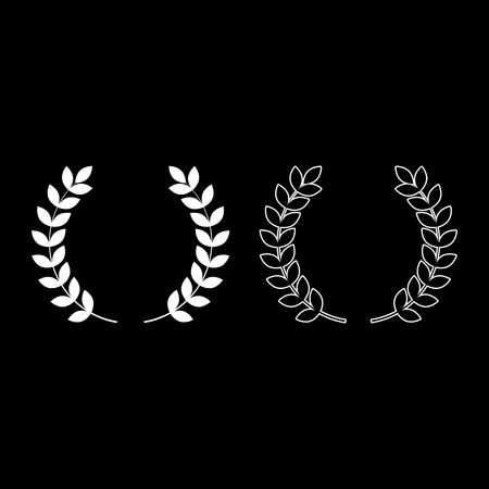 Branch of winner Laurel wreaths Symbol of victory icon outline set white color vector illustration flat style simple image