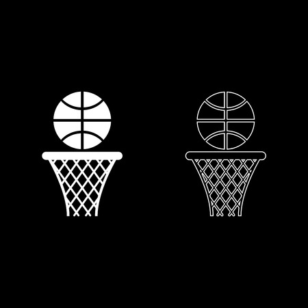 Basketball basket and ball Hoop net and ball icon outline set white color vector illustration flat style simple image Ilustração
