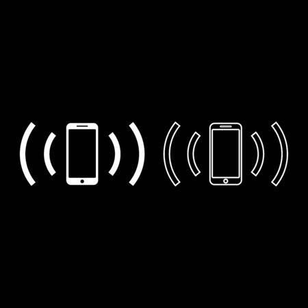 Smartphone emits radio waves Sound wave Emitting waves concept icon outline set white color vector illustration flat style simple image Banque d'images - 127893261