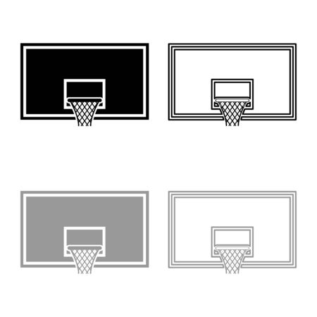 Basketball backboard Basketball hoop on backboard icon outline set black grey color vector illustration flat style simple image