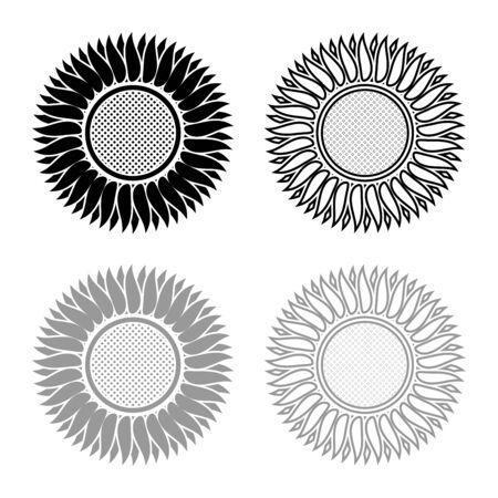 Sunflower icon outline set black grey color vector illustration flat style simple image