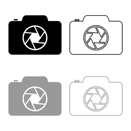 Camera with focus of lens concept icon outline set black grey color vector illustration flat style simple image Ilustração