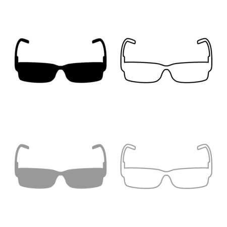 Sunglasses icon outline set black grey color vector illustration flat style simple image