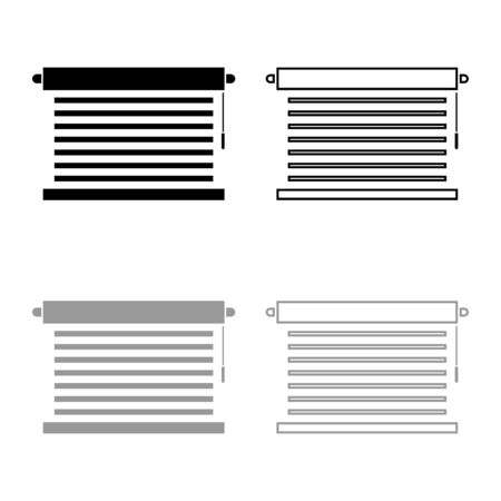Jalousie Metal window jalousie for office Louvers icon outline set black grey color vector illustration flat style simple image