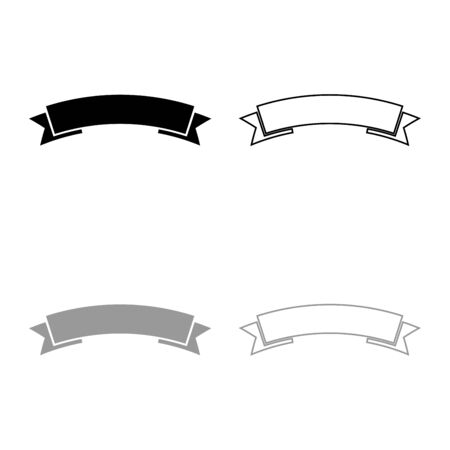 Ribbon banner Advertising banner icon outline set black grey color vector illustration flat style simple image Ilustração