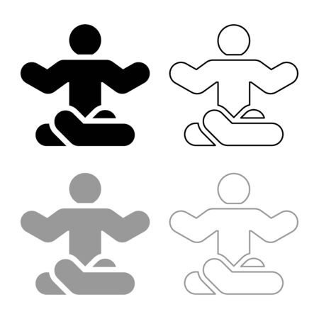 Man in yoga pose icon outline set black grey color vector illustration flat style simple image  イラスト・ベクター素材