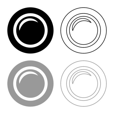 Camera lens photo equipment icon outline set black grey color vector illustration flat style simple image Ilustração