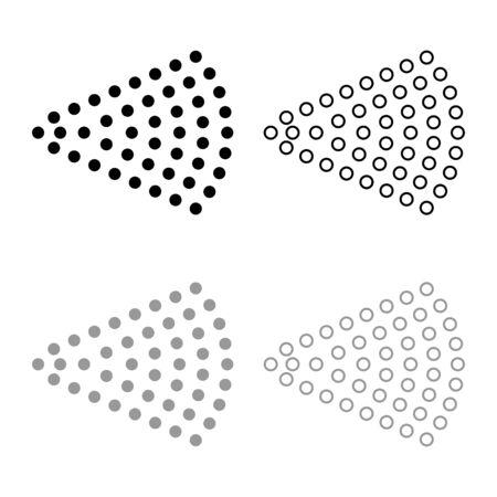 Aerosol de chorro de aerosol de agua pulverizada de niebla del atomizador de la botella cosmética esquema de conjunto de iconos de color gris negro ilustración vectorial tipo plano simple imagen