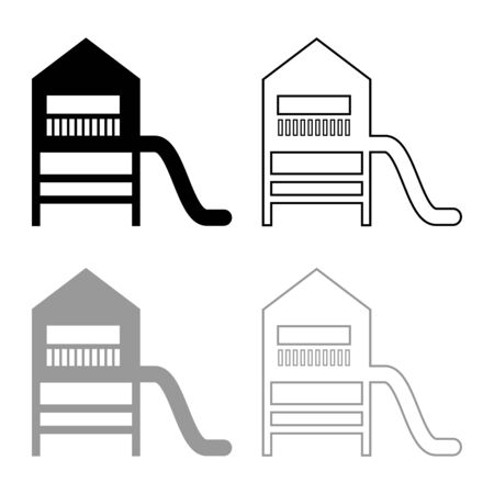Playground slide Childrens slide Kids playground Childrens town with slide icon outline set black grey color vector illustration flat style simple image