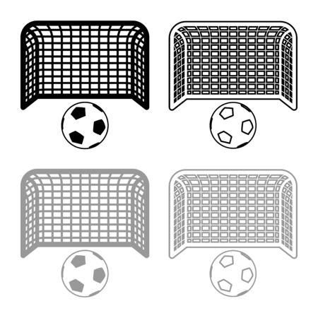 Soccer ball and gate Penalty concept Goal aspiration Big football goalpost icon outline set black grey color vector illustration flat style simple image Ilustrace