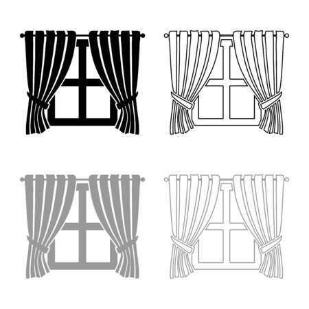 Curtains and window Interior concept Home window view decoration Waving curtains on window icon outline set black grey color vector illustration flat style simple image