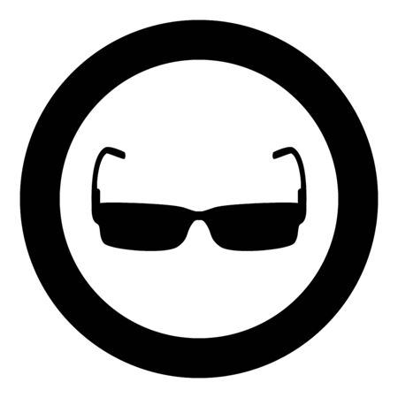 Sunglasses icon in circle round black color vector illustration flat style simple image