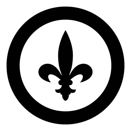 Heraldic symbol Heraldry liliya symbol Fleur-de-lis Royal french heraldry style icon in circle round black color vector illustration flat style simple image
